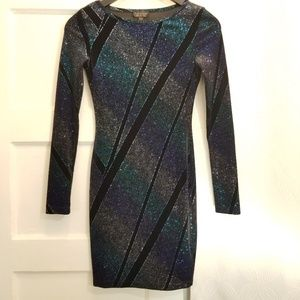 Topshop Velvet Glitter Bodycon Dress, Size 2